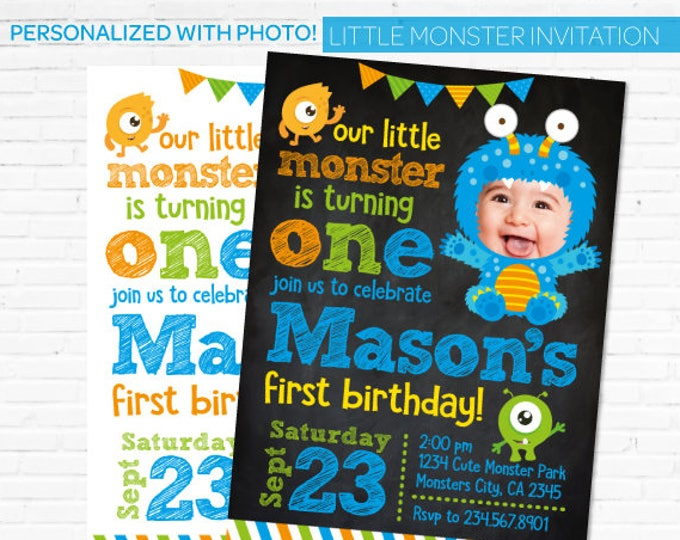 Little Monster Birthday Invitation Personalized with your baby picture, Little Monster 1st Birthday, DIGITAL Invitation, 2 options