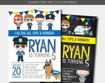 Cops and robbers Invitation, Police Birthday Invitation, Police Birthday Party, DIGITAL, 2 Options