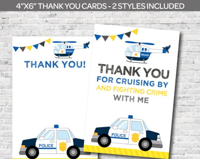 Instant Download, Police thank you cards, Police Birthday Party, Cops and robbers party, DIGITAL files