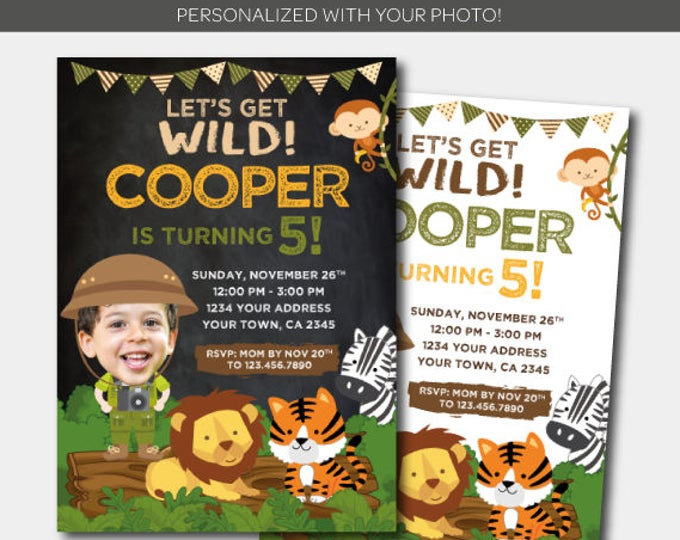 Safari Boy Invitation with photo, Jungle Invitation, Zoo Birthday Invitation with Picture, Personalized DIGITAL Invitation, 2 Options