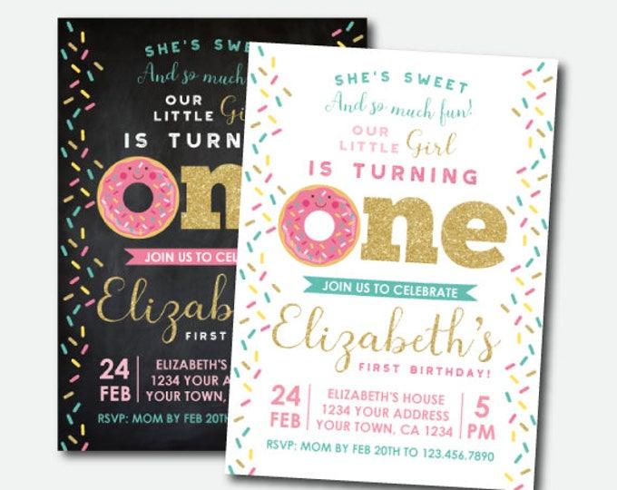 Donut Invitation First Birthday, Donut Birthday Invitation, Girl Birthday Invitation, Sprinkles Invite, Personalized Invitation, 2 options