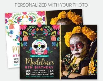 Dia de los Muertos Birthday Invitation with Photo, Day of the Dead Party, Sugar Skull Invite, Personalized Printable Invitation, 2 options