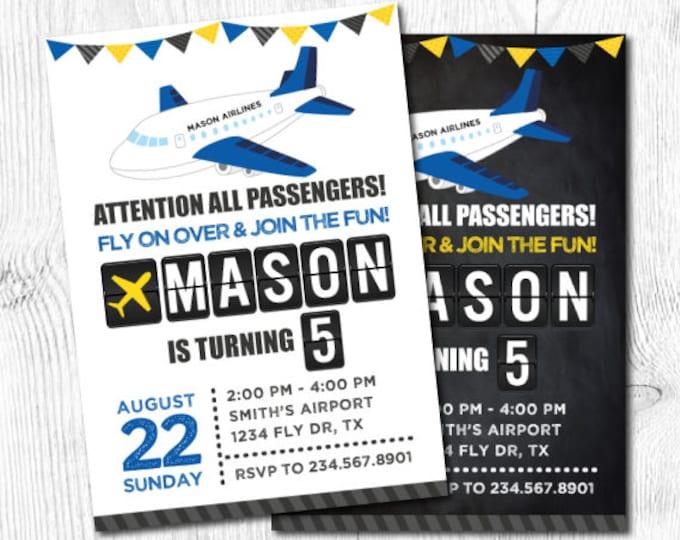 Airplane Invitation, Plane Birthday Party, Time Flies Birthday Invitation, Airplane Birthday Party, Travel Invitation, DIGITAL, 2 Options
