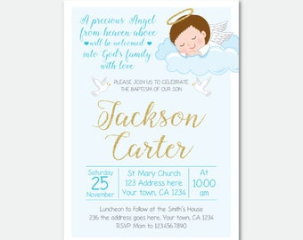 Boy Baptism Invitation, Christening Invitations, DIGITAL personalized Invitation