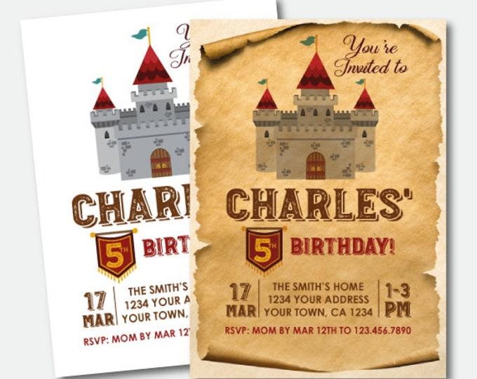 Medieval Birthday Invitation, Castle Invitation, Knight Birthday Invitation, Royal Birthday Party, Printable Personalized Invite, 2 options