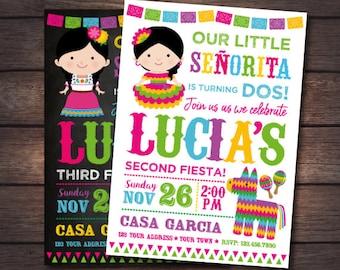 Fiesta Girl Invitation, Cinco de Mayo Invitation, Little Señorita Invitation, Any age, Mexican Party, Digital, 2 Options