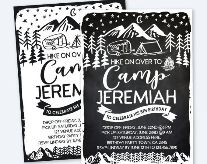 Camping Invitation, Black & White, Summer Camp Party, Sleepover Invitation, Outdoors Birthday Party, Personalized Digital Invitation