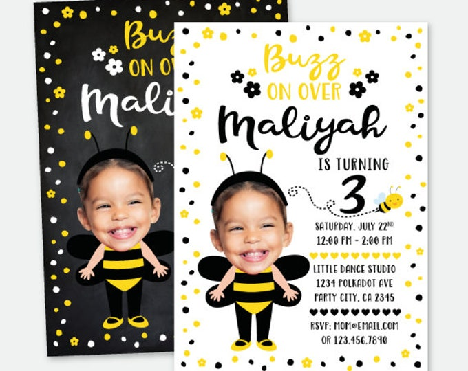 Bumble Bee Invitation with Picture, Bee Birthday Party, Personalized Digital Invitation, 2 options