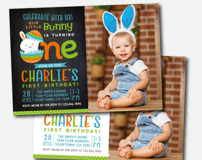 Easter Invitation with photo, Easter first birthday Invite, Egg Hunt Invitation, Little Bunny, Digital Personalized Invitation, 2 Options