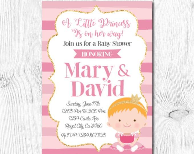 Princess Baby Shower Invitation, Little Princess Baby Shower, Pink and Gold Baby Shower Invitation, Digital, 2 Options