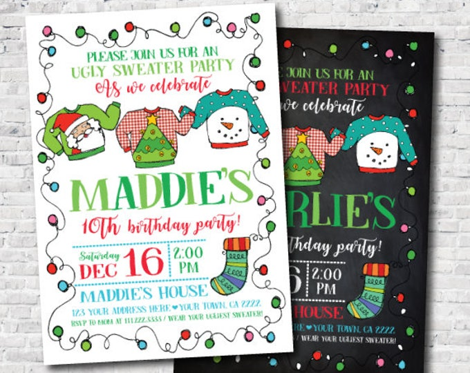 Ugly Sweater Invitation, Holiday Invitation, Christmas Birthday Party, Personalized Invite, Unisex Birthday Invitation, DIGITAL