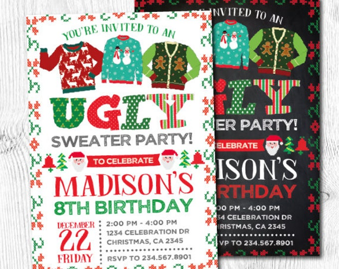 Ugly Sweater Invitation, Holiday Party Invitation, Christmas Party, Christmas Birthday Invitation, Unisex Birthday Invitation, DIGITAL