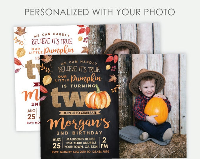 Little Pumpkin 2nd Birthday Invitation with Photo, Autumn Birthday Invitation, Fall Party Invitation, Unisex Personalized Digital Invite