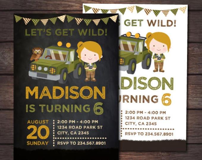 Safari Invitation, Safari Girl Invitation, Jungle Birthday Invitation, Adventure Birthday Party, Zoo Birthday Invitation, DIGITAL, 2 Options
