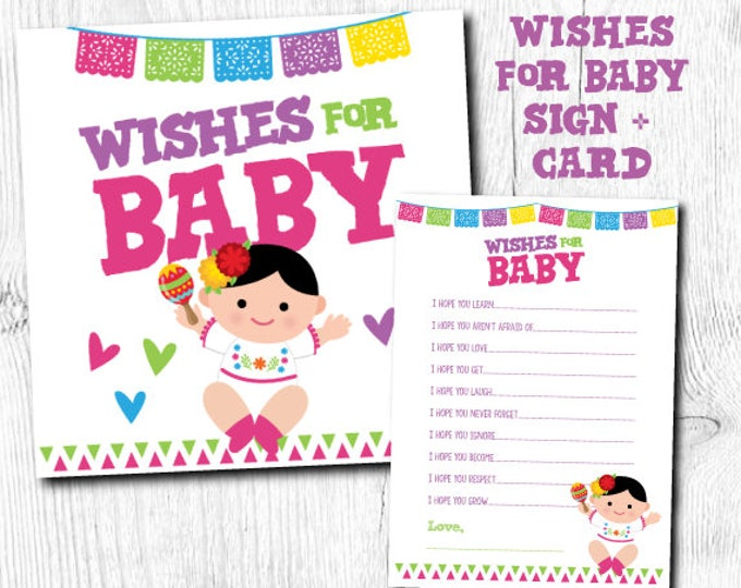 Fiesta Baby Shower Games, Cards and sign pack, Fiesta Wishes for Baby, Wishes for baby printable, Instant Download