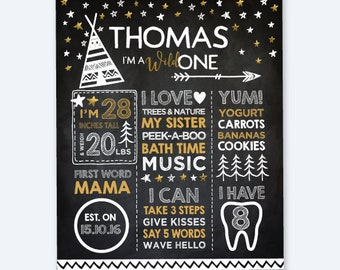 Wild One Chalkboard Sign, Tribal First Birthday Sign, Milestone Board, Stats Birthday Poster, Any Age, Personalized Printable Board, DIGITAL