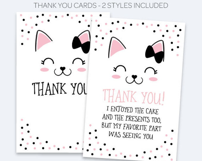 Kitten Thank You Cards, Kitty Cat Birthday Party, Kitty Thank You Notes, Printable Thank You Cards, Black and Pink, INSTANT DOWNLOAD