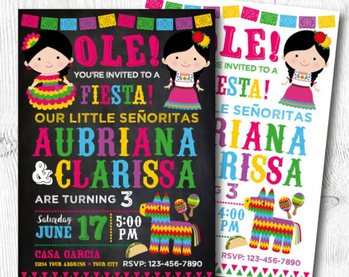 Fiesta, Twin Birthday Invitations, Fiesta Birthday Invitation, Mexican Birthday Invitation, Digital, 2 Options