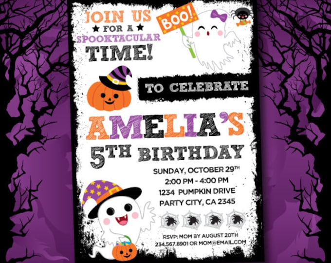 Trick or treat Invitation, Costume party invitation, Halloween Invites, Halloween Birthday Invitation, Halloween Party, 2 options, DIGITAL