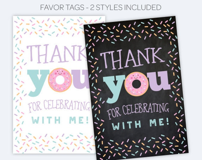 Donut Favor Tags, Sprinkles Birthday Party, Printable Thank You Tags, Donut Birthday party, INSTANT DOWNLOAD