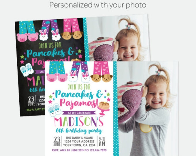Pancakes and Pajamas Birthday Invitation with Photo, Sleepover Invitation, Pajama Party, Personalized Digital Invitation, 2 options