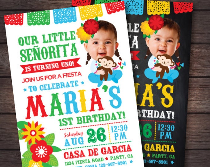 First Fiesta Invitation, Fiesta First Birthday Invitation, Baby Senorita Invitation, Mexican Birthday Invitation, Digital Invite, 2 Options