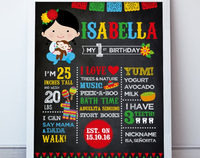 Fiesta First Birthday Poster, Fiesta Birthday Party, First Birthday Board, Digital, 2 Options