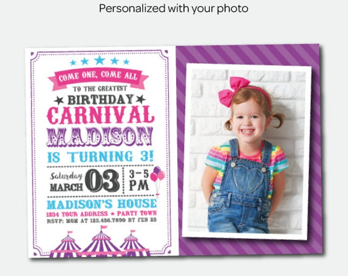 Circus Invitation with photo, Carnival Birthday Party, Circus Party, Clown Invitation, Personalized Invites