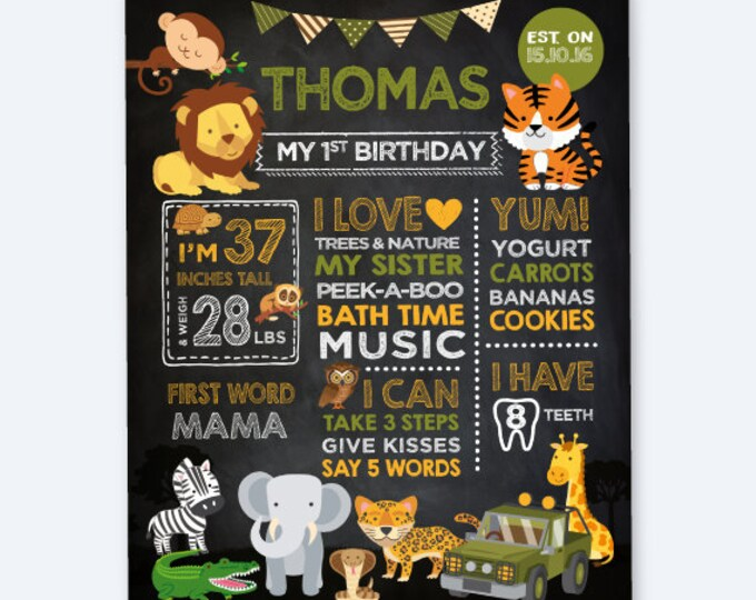 Safari First Birthday Chalkboard Sign, Jungle Birthday Party Decorations, Any Age, Personalized Digital Board