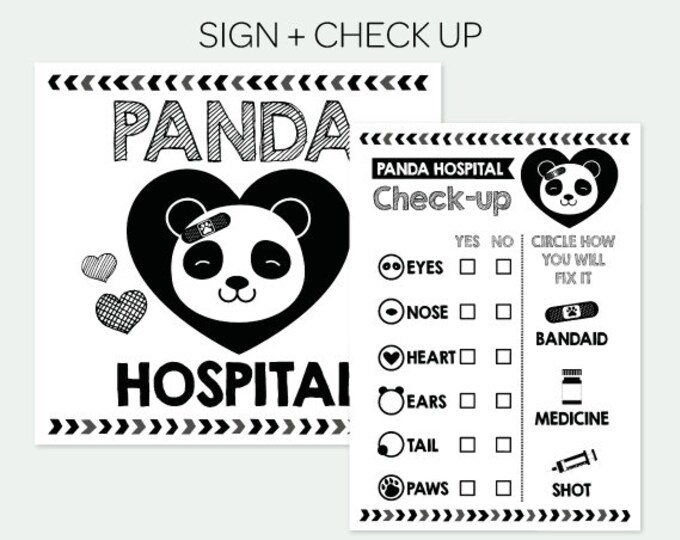 Panda Adoption Party, Pet Adoption Party, Panda Hospital and Check Up, Birthday Decorations, Digital Printable Signs, INSTANT DOWNLOAD