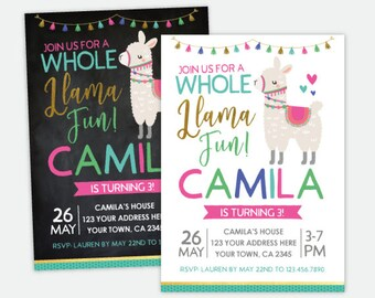 Llama Birthday Invitation, Animals Birthday Party, Personalized DIGITAL Invitation, 2 Options