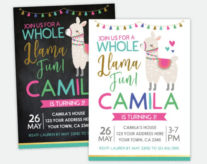 Llama Birthday Invitation, Animals Birthday Party, Personalized DIGITAL Invitation, 2 Options