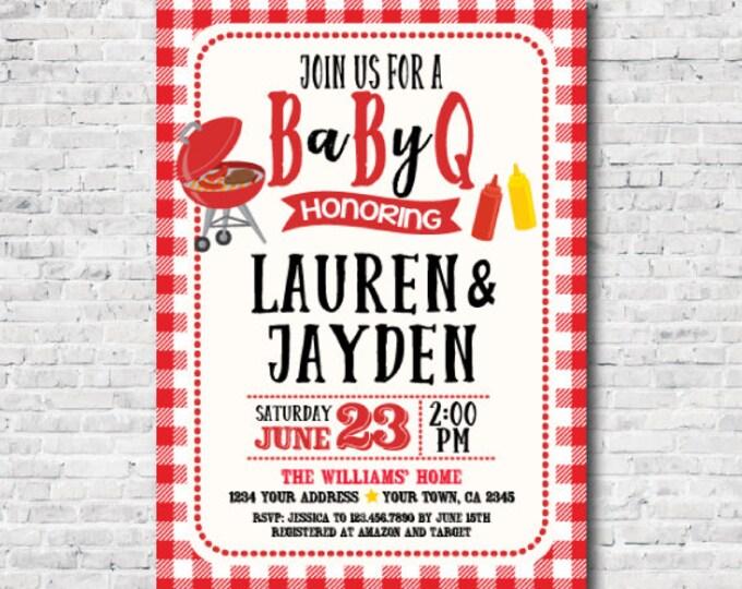 bbq baby shower invitation, Coed baby shower, Babyq Invitations, Barbecue Invite, Personalized Digital Invitation