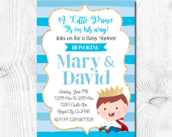 Prince Baby Shower Invitation, Little Prince Baby Shower, Blue and Gold Baby Shower Invitation, Digital, 2 Options