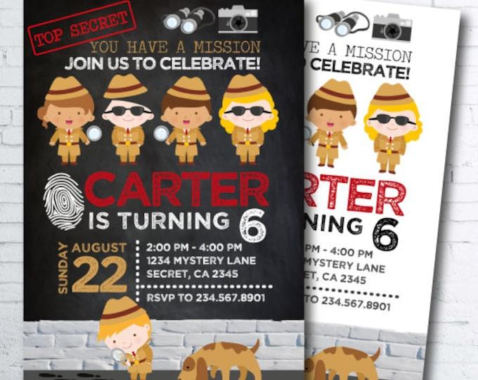 Detective Invitation, Secret Agent Birthday Invitation, Spy Party, Mystery Party, DIGITAL, 2 Options