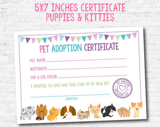 Pet Adoption Certificate, Puppy and Kitty Adoption Birthday Party, Puppy Birthday, Printable Certificate, Instant Download