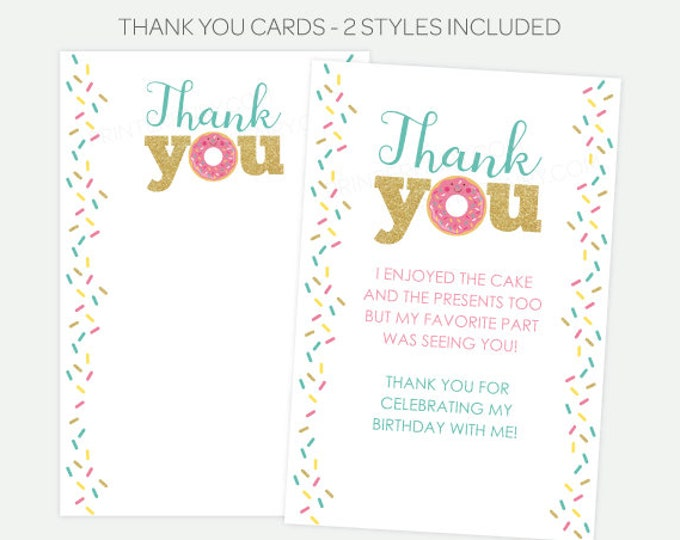 Donut Thank You Cards, Donut Birthday Party, First Birthday Party, Sprinkle Thank You Notes, Digital, Printable Thank You, INSTANT DOWNLOAD
