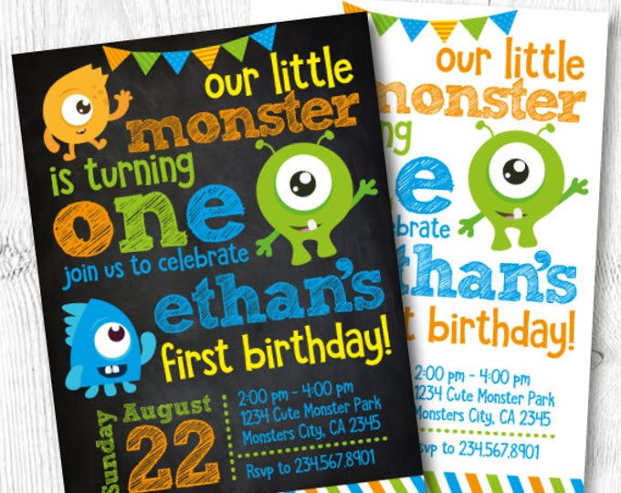 Little Monster Birthday Invitations, Monster Invitations, Monster Birthday Party, Little Monster 1st Birthday, DIGITAL Invitation, 2 options
