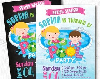 Pool Birthday Invitation, Pool Birthday Party Invitation, Summer Birthday Invitation, Printable Invitation, 2 Options
