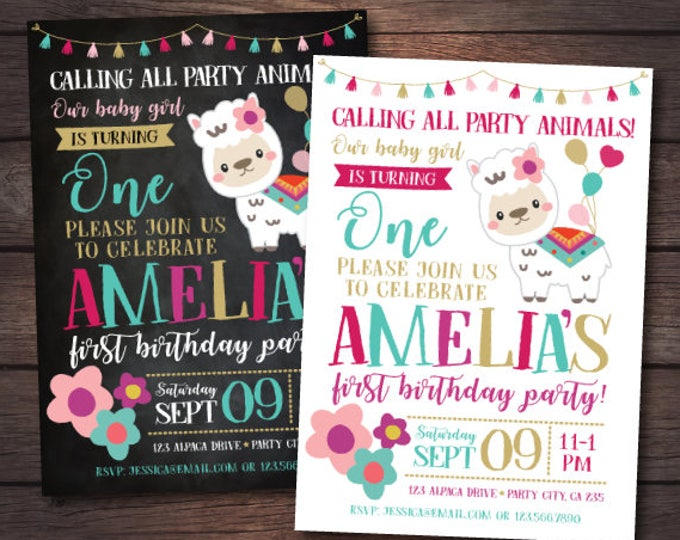 Llama Invitation, Girl First Birthday Invitation, Alpaca Invitation, Animal Birthday Invitation, Llama birthday, Any age, DIGITAL, 2 Options