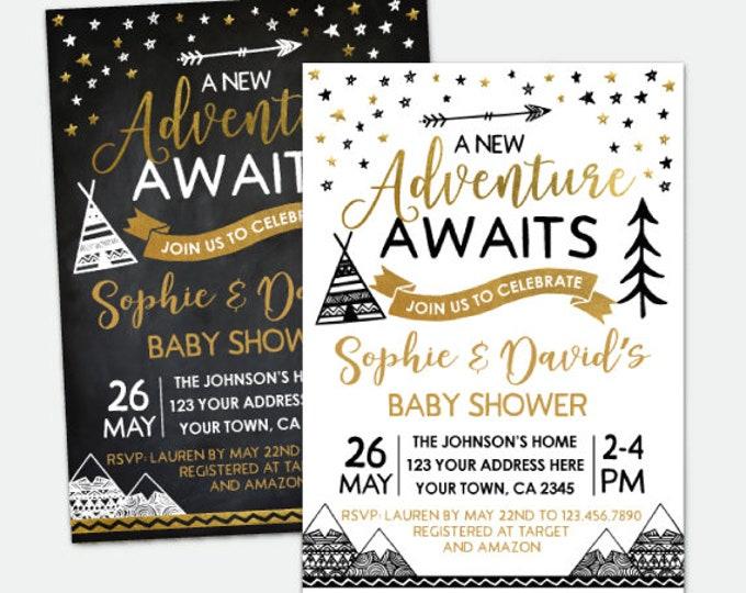 Adventure Awaits Baby Shower Invitation, Teepee Baby Shower, Boys or Girls Shower, Personalized DIGITAL Invitation, 2 Options