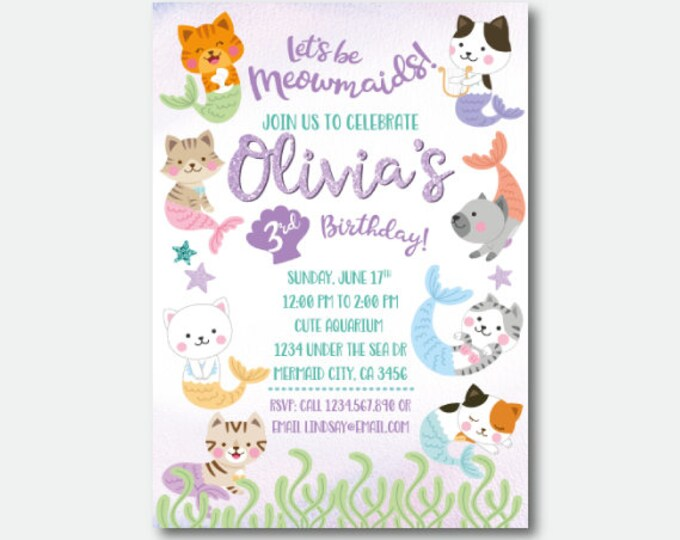 Meowmaid Birthday Invitation, Mermaid Birthday Invitation with or without photo, Cat Birthday Party, Personalized Digital Invitation
