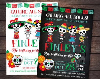 Day of the dead Invitation, Boy Mexican Birthday Party, Day of the dead party, 2 options, DIGITAL