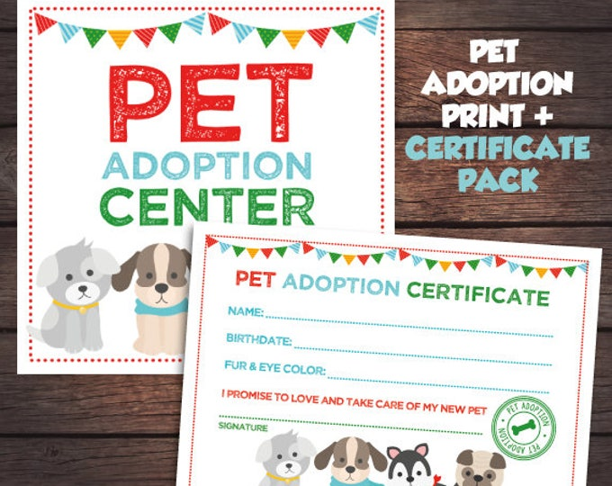 Puppy Birthday Party, Pet Adoption Party Prints, Pet adoption Certificate, Adopt a Pet sign, Digital files, Instant download