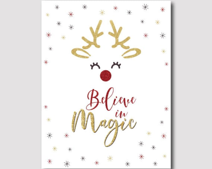 Christmas Reindeer Poster, Holiday Party decorations, Instant Download Sign