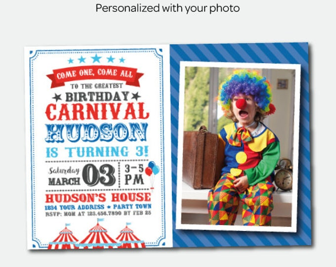 Carnival Birthday Invitation with photo, Circus Birthday Party, Circus Party, Personalized Invitation