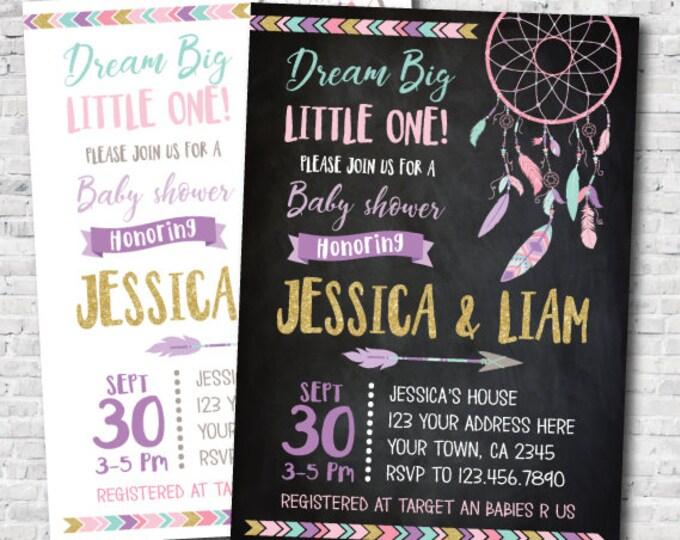 Dreamcatcher Baby Shower Invitation, Boho baby shower, Tribal Baby Shower, DIGITAL Personalized Invite, 2 options