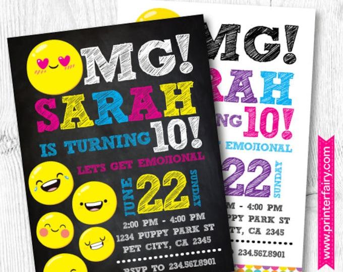 Emoji Invitations, Emoji Birthday Invitation, Emoji Birthday Party, DIGITAL Invitation, 2 options