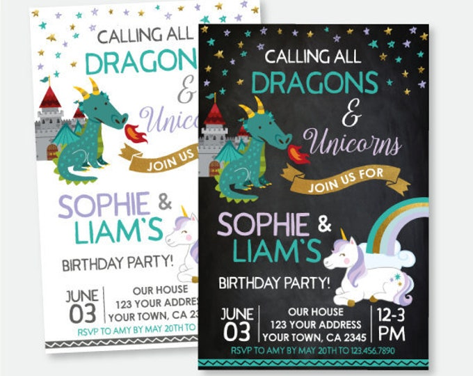 Dragon and Unicorn Birthday Invitation, Siblings Invitation, Magical Birthday Party, Personalized Printable Invitation, 2 Options