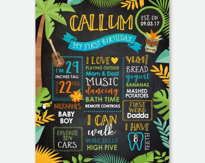 Luau Birthday Board, Hawaiian Party Milestones Sign, Summer Birthday Party, Pool Birthday Party, Personalized Digital Chalkboard Sign